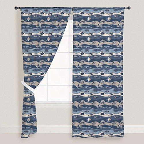 Water Tank Cold Fish (AZ Fish Aquarium Door & Window Curtain Satin 4feet x 6feet; SINGLE PIECE)