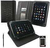 Emartbuy® AlpenTab 7 Zoll Tablet PC Universalbereich Schwarz Carbon PU Leder Multi Winkel Folio Executive Case Cover Wallet Hülle Schutzhülle mit Kartensteckplätze + Schwarz 2 in 1 Eingabestift