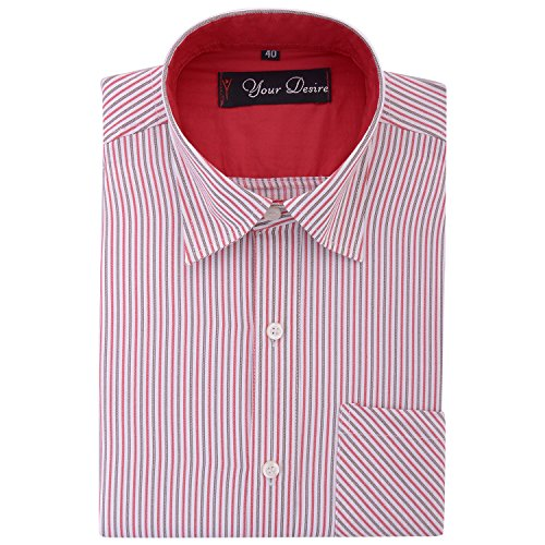 Your Desire Shirts Men Cotton Red and Brown Formal Shirt (Size 40)