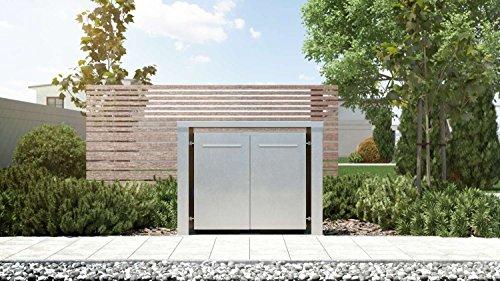 Mülltonnenbox Flachdach Plandesign Edelstahl 120 Liter 2 Mülltonnen