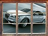 Stil.Zeit Möbel Rasanter Audi, Fenster 3D-Wandsticker Format: 92x62cm Wanddekoration 3D-Wandaufkleber Wandtattoo