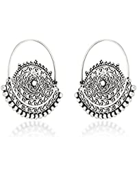 Ahilya Jewels Dakshin collection .925 Sterling Silver Hoop Earrings