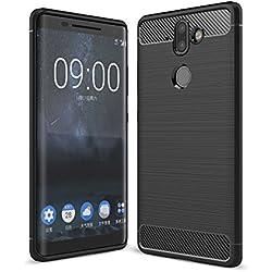 Funda Nokia 9 ,Nueva carcasa elegante ultrafino GOGME [Serie de fibra de carbono] Flexible TPU Todo incluido Anti-Arañazos Anti-huella dactilar a prueba de choque case protectora súper suave para Nokia 9.negro