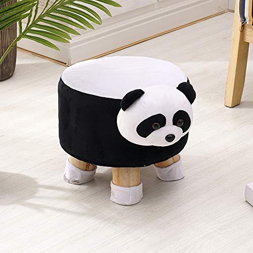 Paddia Pouf en Bois Massif avec Motif zèbre et Pouf Tabouret Table Basse Canapé Entrée Banc Salon Moderne Gris Clair Tapisserie d'ameublement Animal (Color : Panda)