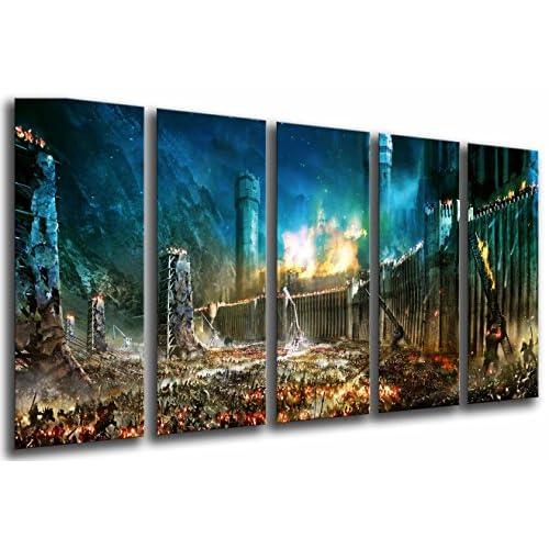 Cuadro Fotográfico El Señor De Los Anillos, La Batalla por la Tierra Media Tamaño total: 165 x 62 cm XXL, Multicolor 2