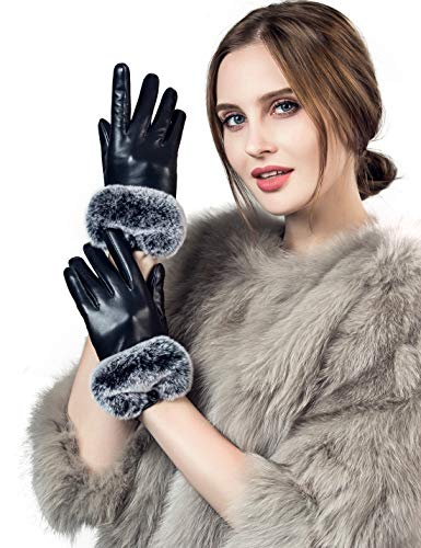 YISEVEN Damen Elegant Lammfelll Lederhandschuhe Kaninchenfell Touchscreen mit Warm Gefüttert Elegant Winter Leder Autofahrer Handschuhe, Schwarz 9.0/XXXL