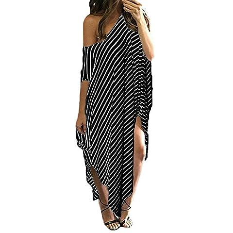 Women Shirt Dress Long Loose Stripe Batwing Sleeve Off shoulder Dress Plus Size (Tag M, Black)