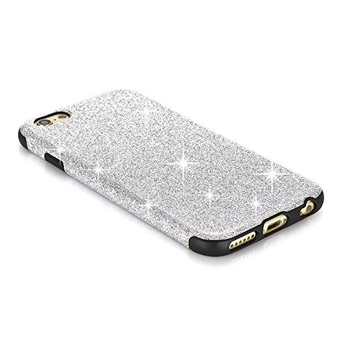 TENDLIN iPhone 6s Plus Hülle Glitzer TPU Silikon Weiche Schutzhülle für iPhone 6 Plus 6s Plus, Schwarz Silber