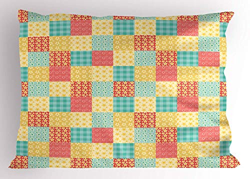 Ejjheadband Patchwork Pillow Sham, Coming of Spring in Rustic Country Theme Vintage Floral and Plaid Quilt Pattern, Decorative Standard Queen Size Printed Pillowcase, 30 X 20 inches, Multicolor (Quilts Queen-size-country)