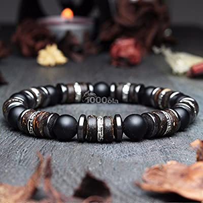 Bracelet homme Taille 19-20cm perles Ø 8mm pierre gemme Agate Noir Bois Cocotier/Coco Hématite Fait main Made in France BRAB01