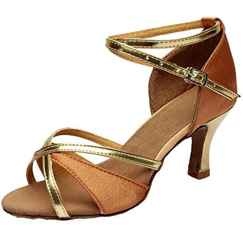 Oasap Women's Peep Toe Cross Strap High Heels Latin Dance Shoes. Deep Nude