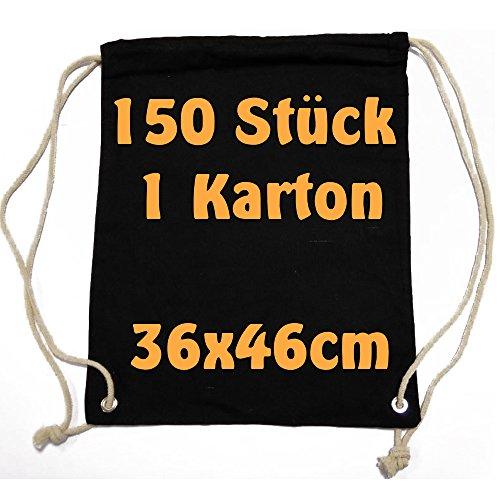 Moderne Sac de gym Sac à dos Pochette en tissu avec cordon en coton noir 36x 46cm 150Sac Cottonbagjoe
