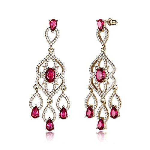 GULICX Gold-Ton Rubin Farbe Ohrringe lang Tropfen Chandelier Groß Rot Strass Ohrhänger (Mutter Anspruchsvolle Braut Kleid Der)