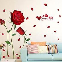 Wallpark Romántico Rojo Rosa Flores Desmontable Pegatinas de Pared Etiqueta de la Pared, Sala Dormitorio Hogar Decorativas Adhesivas DIY Arte Murales