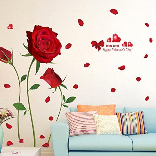 Wallpark romantico rosso rosé fiori removibile adesivi murali adesivi da parete, soggiorno camera da letto casa diy arte decorativo adesivo murale