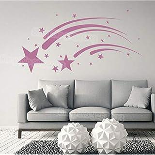 Wandaufkleber Shooting Stars Wandaufkleber für Mädchen Zimmer Dekorative Kinderzimmer Wandtattoo Kids Home Decor Wohnzimmer Selbstklebende Wandbild 82x42cm