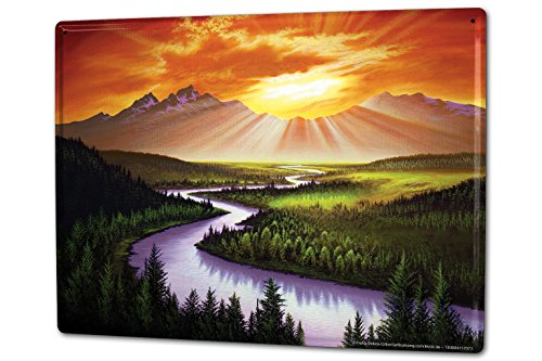 Cartel Letrero de Chapa XXL Feng Shui sol que brilla sobre los picos de montaña