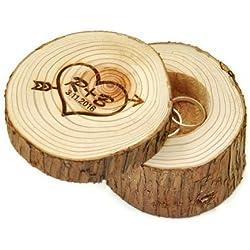 Caja de Anillos de boda personalizable de madera, corazón e iniciales con flecha