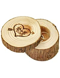 Caja de Anillos de boda personalizable de madera, corazón e iniciales con flecha, regalo para parejas