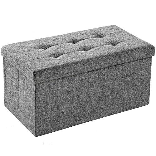 TecTake Faltbare Sitzbank Aufbewahrungsbox Sitzwürfel Hocker Würfel Möbel 76x38x38cm - Diverse Farben - (Lichtgrau | Nr. 402238) (Würfel Aufbewahrung Möbel)
