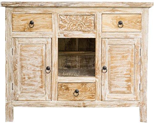 Guru-Shop Cómoda Blanca Antigua con Repisa, 2 Puertas y 3 Cajones de Madera de Teca, 80x100x56 cm, Cómodas y Aparadores