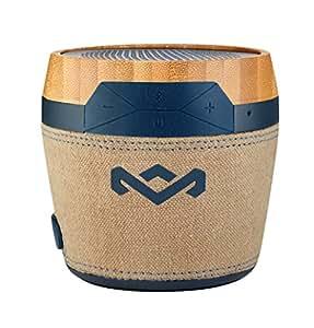 House of Marley Chant Mini Cassa Altoparlante Portatile Bluetooth Wireless, Design Resistente agli Schizzi (IPX4), Microfono Integrato, Ingresso Ausiliario, Moschettone, Marrone/Legno