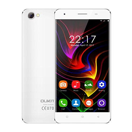 OUKITEL C5 - Android 7.0 3G 5 Zoll Smartphone Metallrahmen MTK6580 Quad Core 1.3GHz 2GB RAM 16GB ROM Dual Kamera Dual SIM Anti-Smash - Weiß