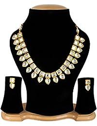 Aradhya Ethnic Jewellery Gold Plated Kundan Pearl Necklace Set For Women Traditional Wedding