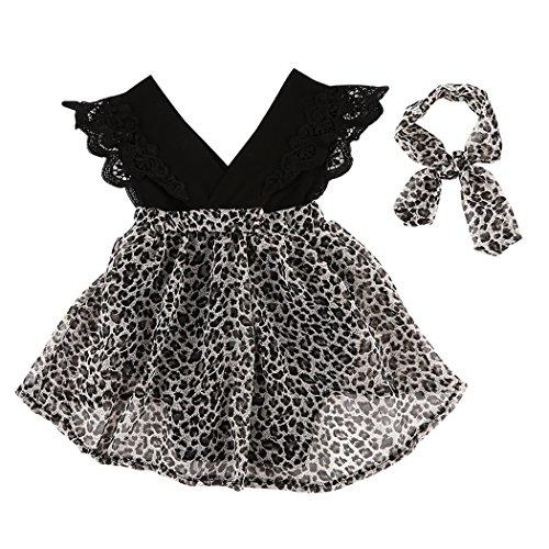 MIOIM Baby Mädchen Kleid mit Leopard Haarband Ärmelloses Schwarz Rundkragen Top + Spitzen Tutu Rock für 0-18 Months