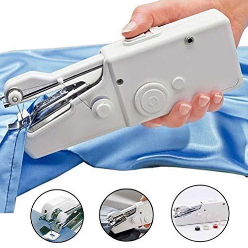 KHUAHENG Mini Nähmaschine Handnähmaschine Schnell Stechwerkzeug für Vorhang Kleidung Stoff Schal