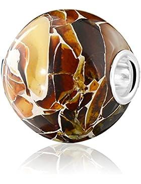ANDANTE - Premium Collection - Echter OSTSEE Bernstein Bead Charm Kettenanhänger in 925 Sterling Silber - BIG...