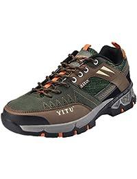 NEOKER Wanderschuhe Damen Herren Trekking Schuhe Outdoor Walkingschuhe Fitnessschuhe Schwarz Armeegrün 35-45 Schwarz + Pink 40