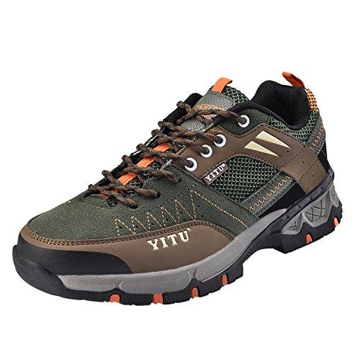 NEOKER Hombre Zapatos de Trekking y Senderismo Deportes Escalada Boats Basses Baja Zapatillas Negro Marrón Verde Naranja Azul Caqui 39-48