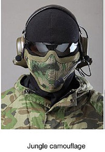 (Atmungsaktive Tactical Paintball Military Metal Mesh Half Face-schützende Schablone Airsoft Krieg Spiel Jungle Camo)