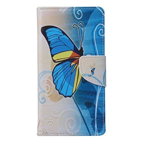 Etche Schutzhülle für iPhone 4S Ledertasche,iPhone 4S HandyHülle bunt Muster,iPhone 4S wallet Schutzhülle, niedlich bunt kreativ hübsch Blumen Flip Cover PU Leder Case Tasche Schutzhülle Hülle mit Sta Blue Schmetterling