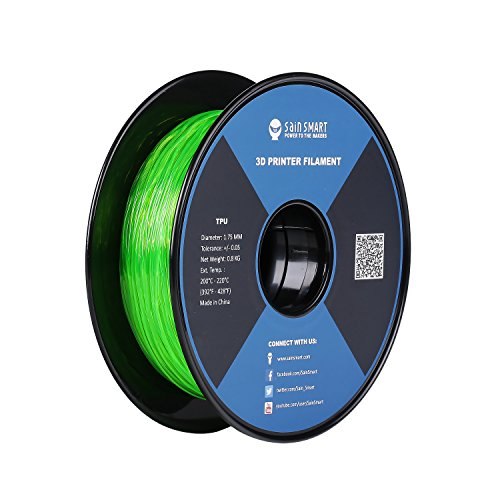 SAINSMART 1.75mm TPU Flexible 3D-Drucker Filament, Maßgenauigkeit 0.05 mm, 0.8KG Spool, 1.75 mm, grün