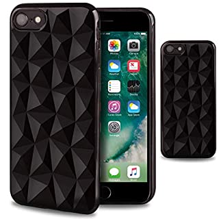 Moozy Silikon Hülle für iPhone 7 / iPhone 8, Schwarz - TPU Texturiert 3D Geometrisches Prism Design Schutzhülle Case