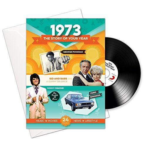 1973 Regalos de cumpleaños o aniversario – 1973 Tarjeta 4-en-1, CD, Regalo y descarga Para hombres y mujeres