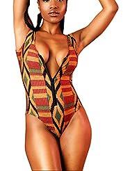 Rcool Bikini Mamelucos para las Mujeres Zipper Deep V-cuello Mono Trajes de Baño Impresión Geométrica