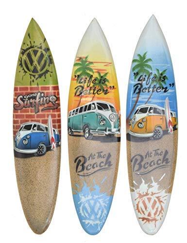 Interlifestyle 3 Deko Surfboard 40cm mit T1 Bus Motiven Surfboards im Paintbrush Look