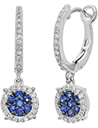 Naava Women's Pave Set Diamond and 0.35 ct Sapphire Round Drop 9 ct White Gold Earrings