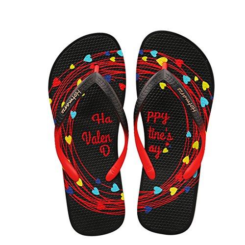 Hotmarzz Chanclas para Mujer San Valentín Sandalias Verano Playa Casa Piscina Flip Flops (41 EU / 42 CN)