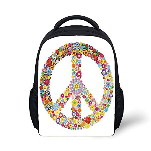 Kids School Backpack Groovy Decorations,Floral Peace Sign Summer Spring Blooms Love Happiness Themed Illustration Print,Multi Plain Bookbag Travel Daypack -