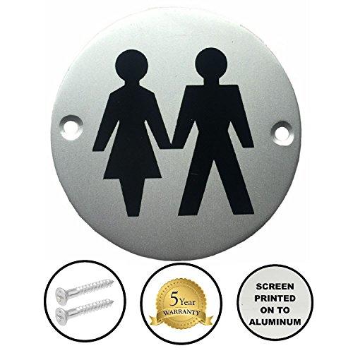 Dzina WC-Türschild, 75mm, Siebdruck, Unisex- / Herren- und Damentoilette