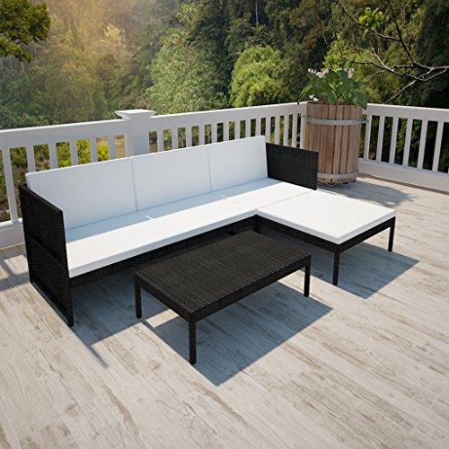 vidaXL Poly Rattan Gartenmöbel Lounge Set 3-Sitzer Schwarz - 2