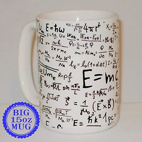 Taza grande de 11 onzas personalizable con texto en inglés «Equations Formulas Gift», ideal para profesores de matemáticas, ciencias matemáticas, regalo de fórmulas