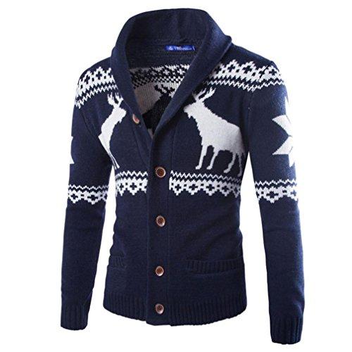 Herren Weihnachten Pullover, CICIYONER Winter Strickjacke Strickwaren Mantel Jacke Sweatshirt (Marine, XL)