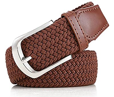 Pegaso Women's Stretchable Braided Elastic Belt, Free Size(Black and Camel)-Pack of 2