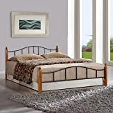 FurnitureKraft Kansas Metal Queen Size Double Bed with Wooden Leg,Multicolor
