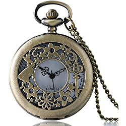"ALICE IN WONDERLAND Rabbit & Key Filigreed Brushed Bronze Retro/Vintage Case Women's Quartz Pocket Watch Necklace - On 32"" Inch / 80cm Chain"